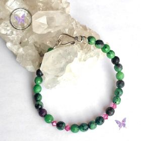 Anyolite Ruby Zoisite Crystal Bracelet With Hook Clasp